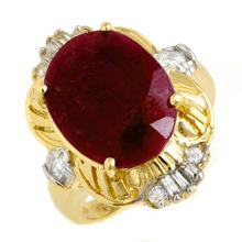 7.84 CTW Ruby & Diamond Ring 14K Yellow Gold - REF-80Y7X - 13239