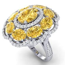 13.71 CTW Royalty Canary Citrine & VS Diamond Ring 18K Gold - REF#-218W2G-39198