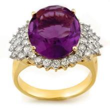 8.18 ctw Amethyst & Diamond Ring 14K Yellow Gold - REF#-107F5V-11159