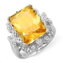 9.25 ctw Citrine & Diamond Ring 14K White Gold - REF#-58R9H-11485