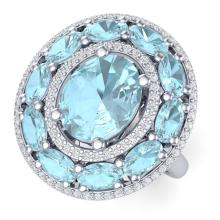 8.47 CTW Royalty Sky Topaz & VS Diamond Ring 18K Gold - REF#-163V6Y-39249