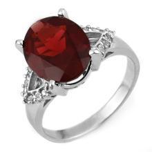 6.20 ctw Garnet & Diamond Ring 10K White Gold - REF#-32F7V-11314