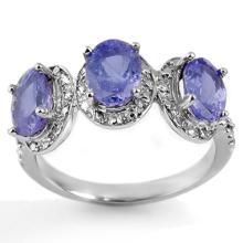 3.08 ctw Tanzanite & Diamond Ring 10K White Gold - REF#-33A6X-11304