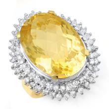 37.75 ctw Citrine & Diamond Ring 14K Yellow Gold - REF#-240Y7M-13031