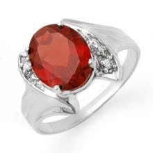 1.64 ctw Garnet & Diamond Ring 18K White Gold - REF#-30G4N-12317
