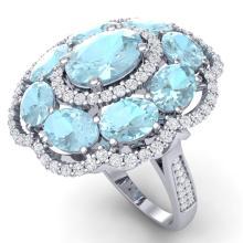 14.89 CTW Royalty Sky Topaz & VS Diamond Ring 18K Gold - REF#-218M2F-39195