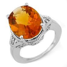 11.18 ctw Citrine & Diamond Ring 14K White Gold - REF#-49M3F-11198
