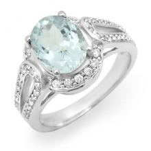2.50 ctw Aquamarine & Diamond Ring 14K White Gold - REF#-86A9X-14539