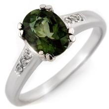 1.60 ctw Green Tourmaline & Diamond Ring 10K White Gold - REF#-30K9W-11636