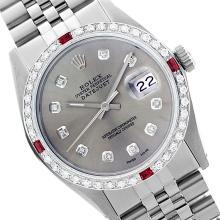 Rolex Ladies Stainless Steel, Diam Dial & Diam/Ruby Bezel, Saph Crystal - REF-355Y6X