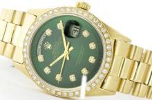 Rolex Men's 18K Yellow President, QuickSet, Diamond Dial & Diamond Bezel - REF-1232M7H