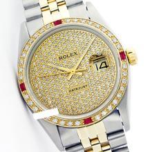 Rolex Men's Two Tone 14K Gold/SS, QuickSet, Diam Pave Dial & Diam/Ruby Bezel - REF-572Z7Y