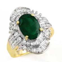 3.45 CTW Emerald & Diamond Ring 14K Yellow Gold - REF-110W5H - 12974