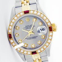 Rolex Ladies Two Tone 14K Gold/SS, Diam Dial & Diam/Ruby Bezel, Saph Crystal - REF-363W3K