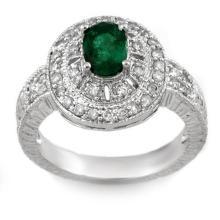 1.58 CTW Emerald & Diamond Ring 18K White Gold - REF-96N5A - 10871