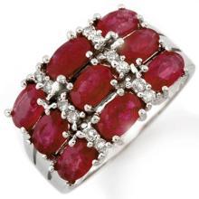 3.15 CTW Ruby & Diamond Ring 18K White Gold - REF-69K3R - 11666