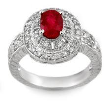 1.93 CTW Ruby & Diamond Ring 18K White Gold - REF-96W5H - 11026