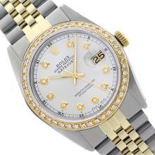 Rolex Ladies Two Tone 14K Gold/SS, Diamond Dial & Diamond Bezel, Saph Crystal - REF-363Z3Y
