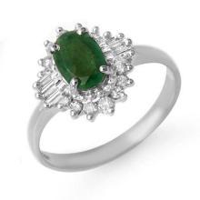 1.25 CTW Emerald & Diamond Ring 18K White Gold - REF-52A2N - 13299