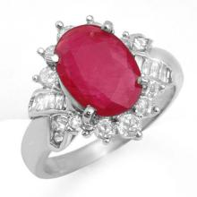 4.42 CTW Ruby & Diamond Ring 18K White Gold - REF-90A5N - 13281