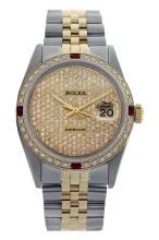 Rolex Ladies Two Tone 14K Gold/SS, Diam Pave Dial & Diam/Ruby Bezel, Saph Crystal - REF-420N2F