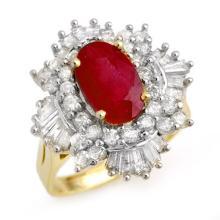 4.70 CTW Ruby & Diamond Ring 14K Yellow Gold - REF-145X5Y - 13322