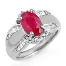 3.01 CTW Ruby & Diamond Ring 18K White Gold - REF-105A5N - 12834