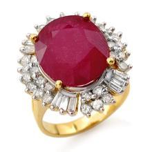 10.65 CTW Ruby & Diamond Ring 14K Yellow Gold - REF-246N4A - 13195