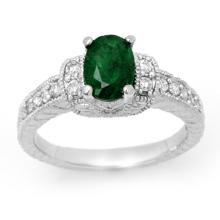 1.60 CTW Emerald & Diamond Ring 14K White Gold - REF-60H9W - 14201