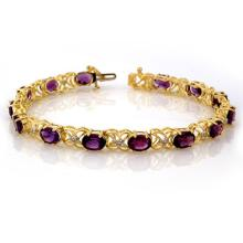 9.55 CTW Amethyst & Diamond Bracelet 10K Yellow Gold - REF-71N6A - 10194