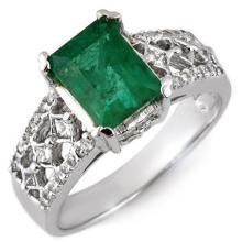 2.75 CTW Emerald & Diamond Ring 18K White Gold - REF-90R9K - 11182