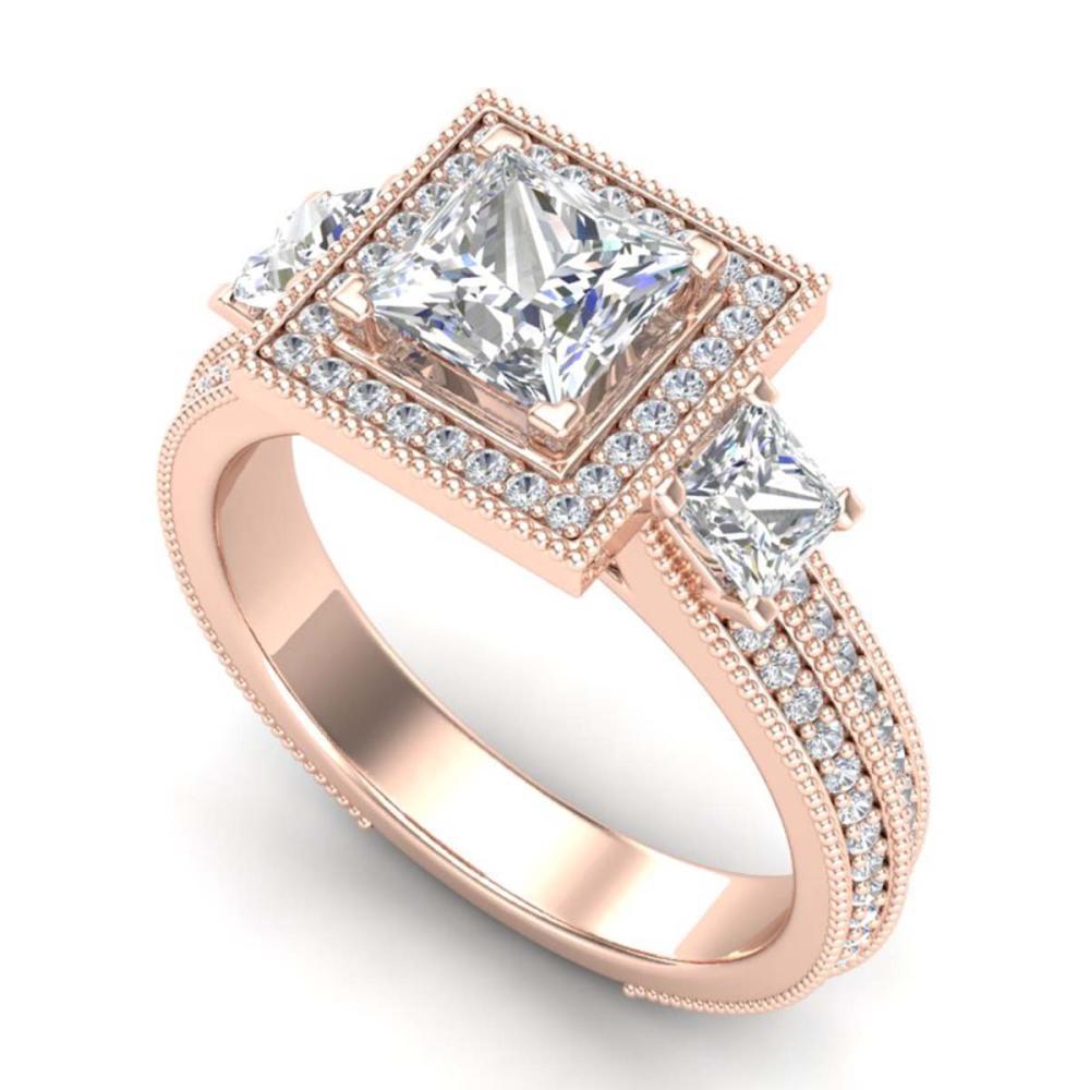 2.5 ctw Princess VS/SI Diamond 3 Stone Ring 18K Rose Gold - REF-527M3F - SKU:37197