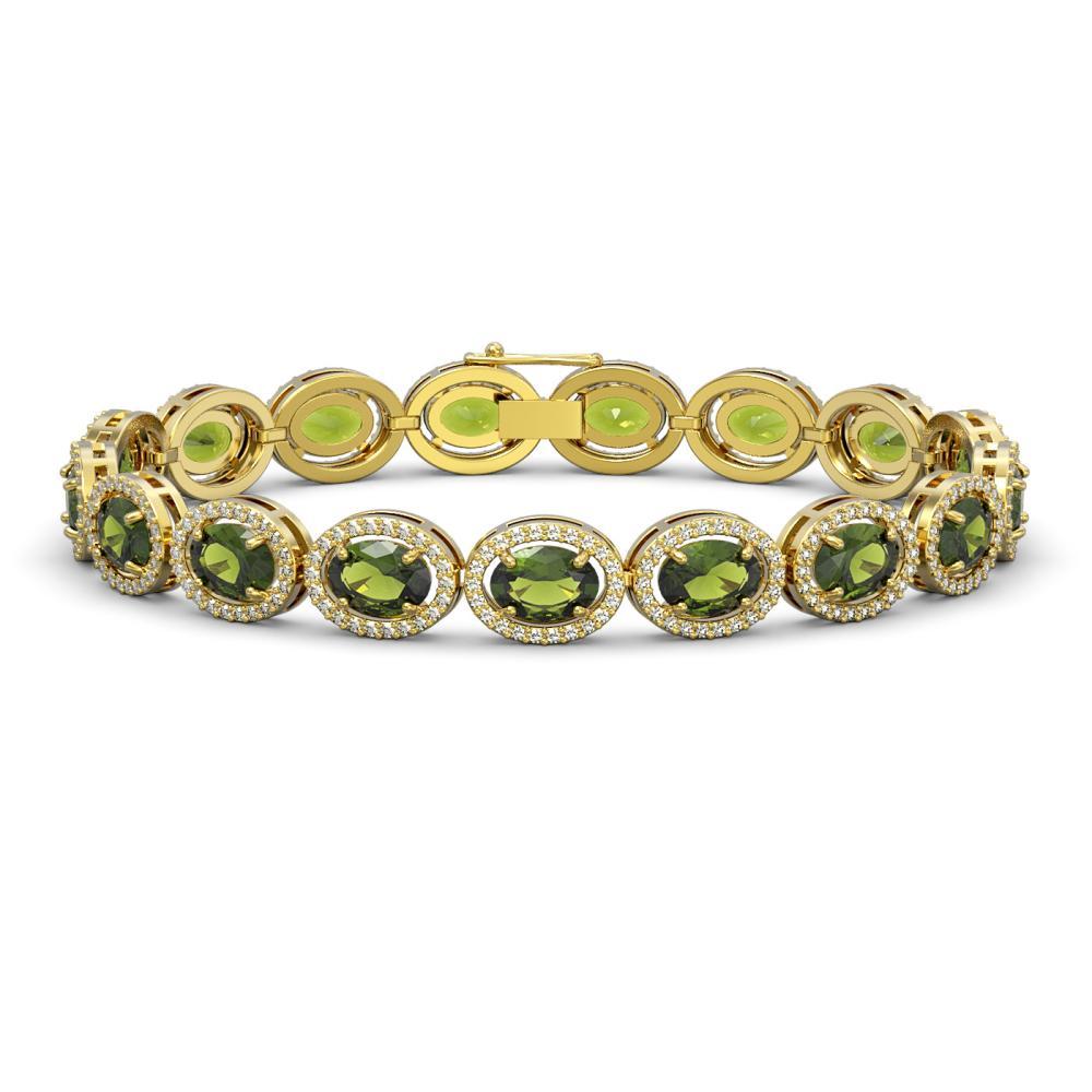 21.71 ctw Tourmaline & Diamond Halo Bracelet 10K Yellow Gold - REF-338F9N - SKU:40624