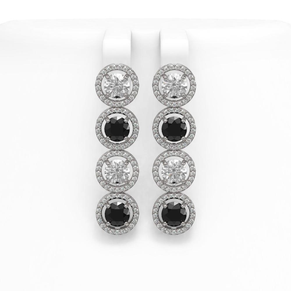 6.22 ctw Black & Diamond Earrings 18K White Gold - REF-476R7K - SKU:42701
