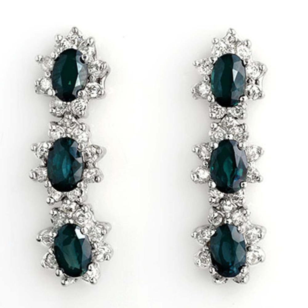 5.88 ctw Blue Sapphire & Diamond Earrings 14K White Gold - REF-105W5H - SKU:11193