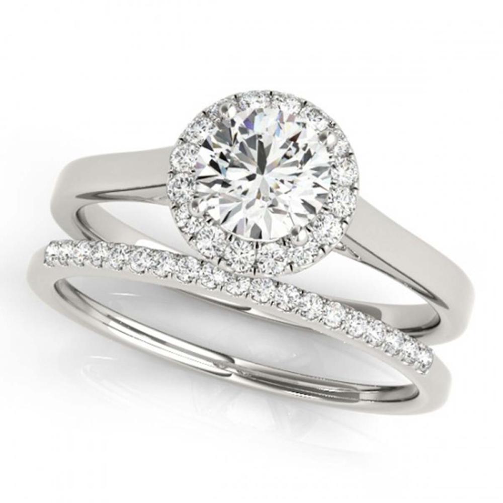 0.89 ctw VS/SI Diamond 2pc Wedding Set Halo 14K White Gold - REF-101Y7X - SKU:30984