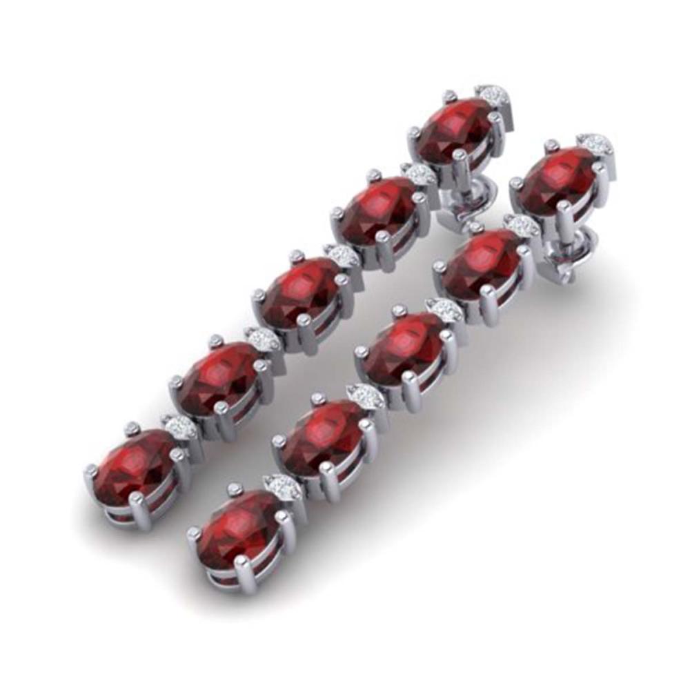 15.47 ctw Garnet & VS/SI Diamond Tennis Earrings 10K White Gold - REF-74R7K - SKU:29480