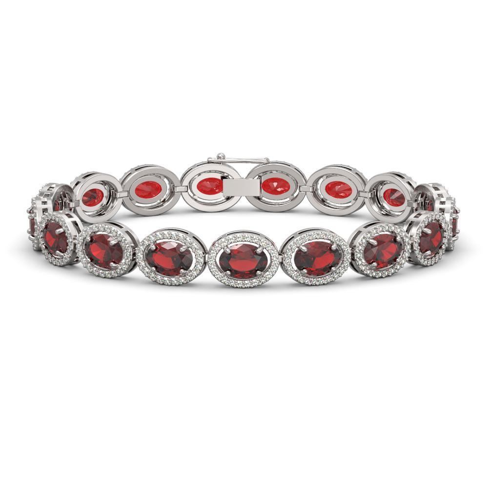 21.98 ctw Garnet & Diamond Halo Bracelet 10K White Gold - REF-247N6A - SKU:40646