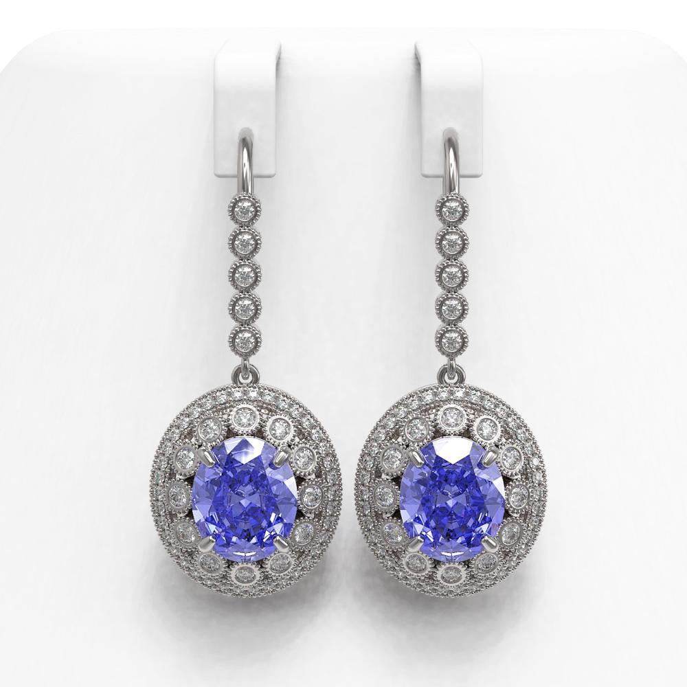 13.82 ctw Tanzanite & Diamond Earrings 14K White Gold - REF-574W4H - SKU:43772