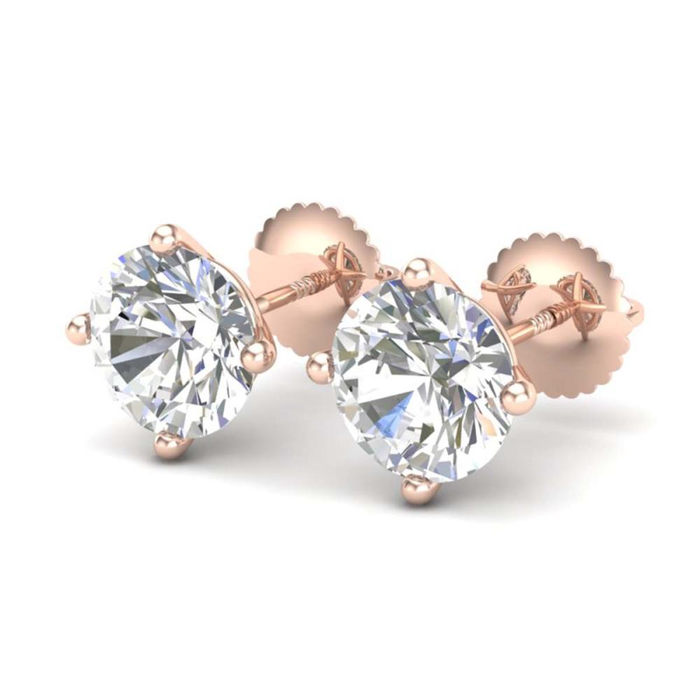 3.01 ctw VS/SI Diamond Solitaire Art Deco Stud Earrings 18K Rose Gold - REF-1009N3A - SKU:37311