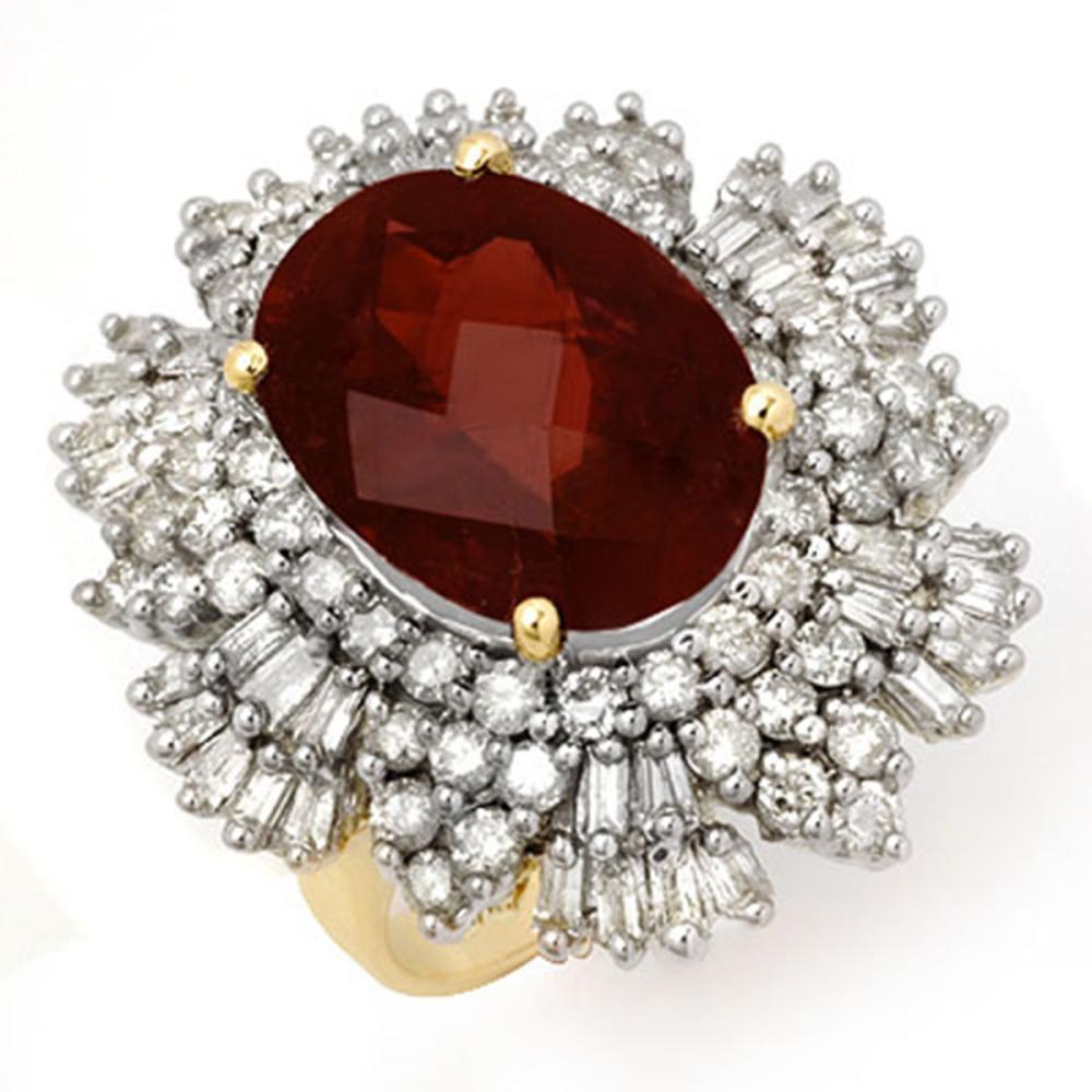 13.25 ctw Pink Tourmaline & Diamond Ring 14K Yellow Gold - REF-468K5W - SKU:14208