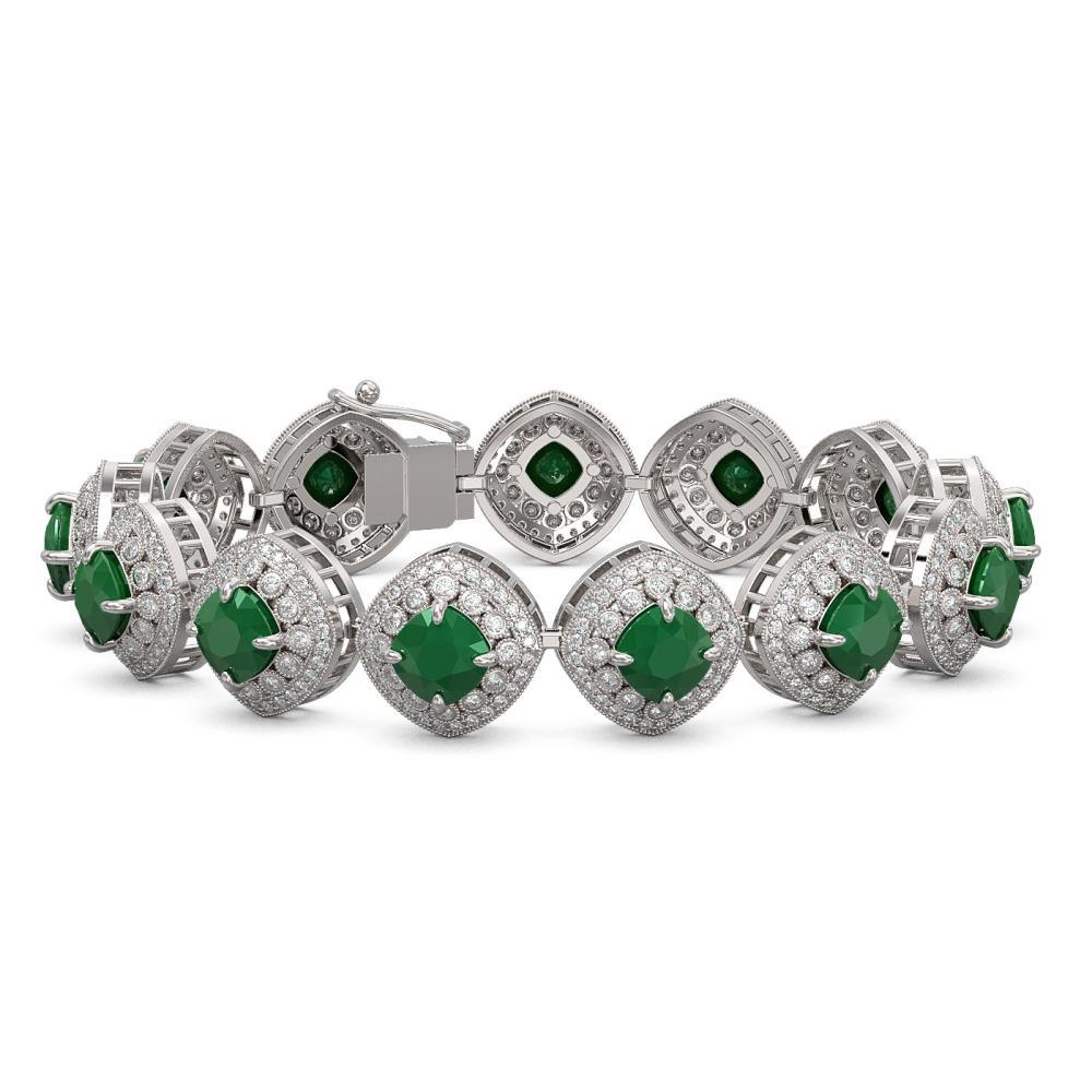 37.35 ctw Emerald & Diamond Bracelet 14K White Gold - REF-956X7R - SKU:44144