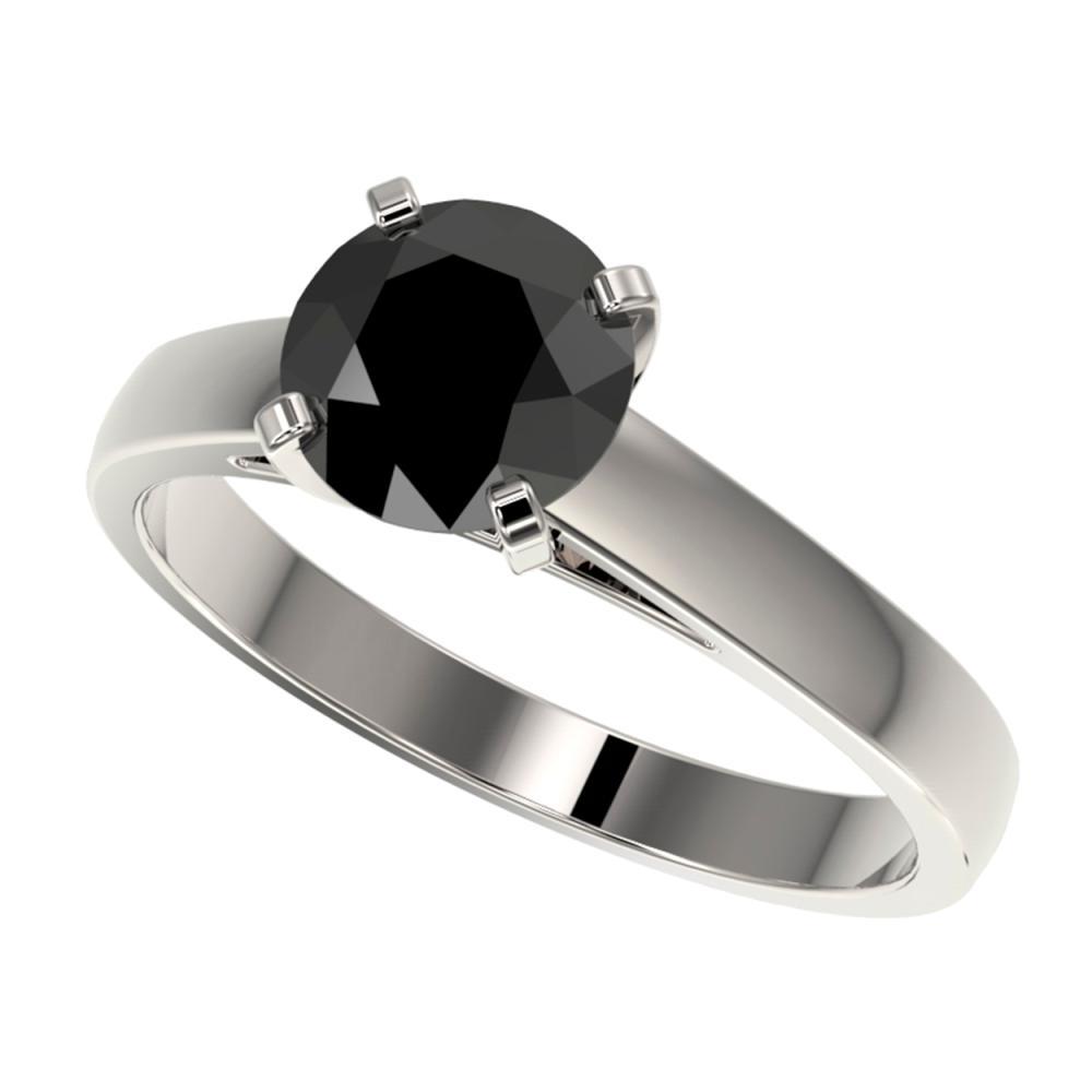 1.50 ctw Fancy Black Diamond Solitaire Ring 10K White Gold - REF-49X5R - SKU:33022