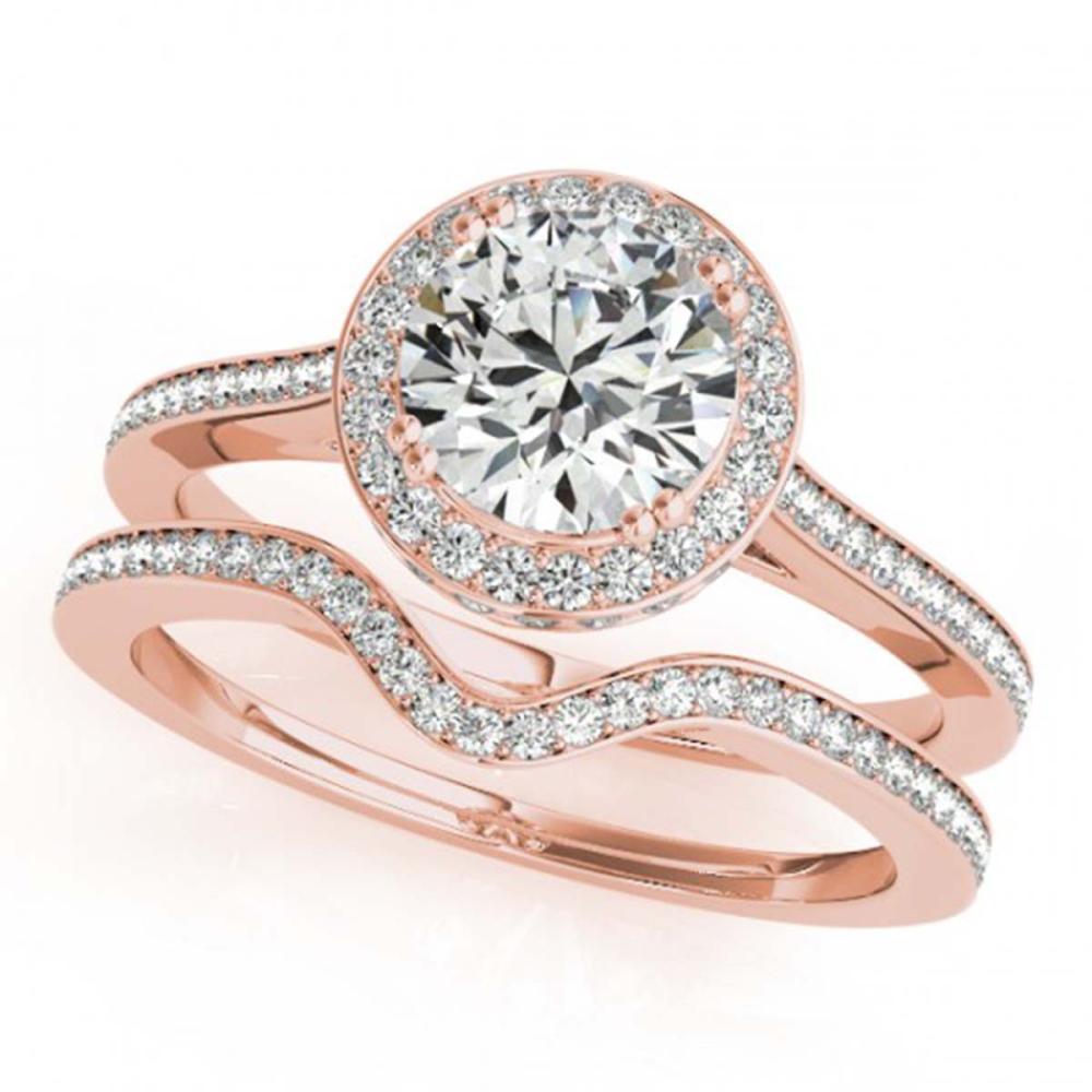 1.80 ctw VS/SI Diamond 2pc Wedding Set Halo 14K Rose Gold - REF-316F6N - SKU:30814