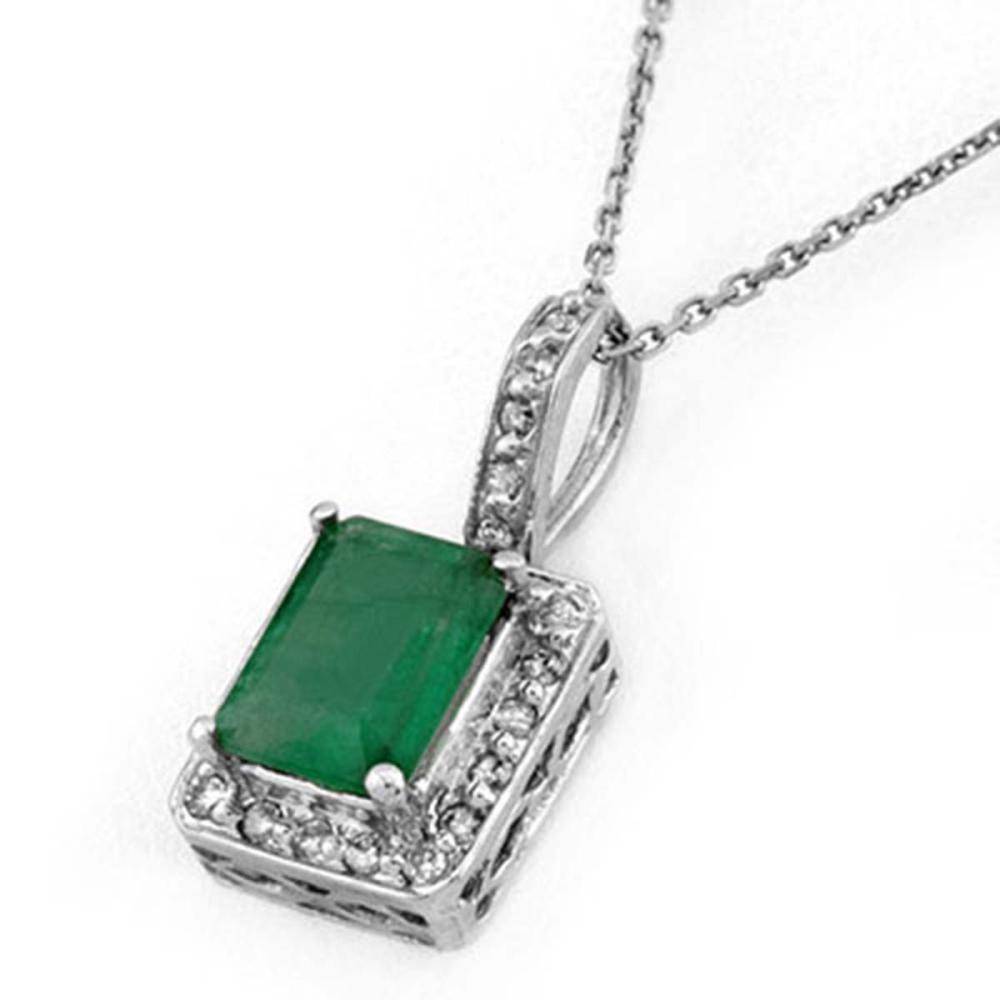 1.75 ctw Emerald & Diamond Necklace 14K White Gold - REF-39H5M - SKU:10203