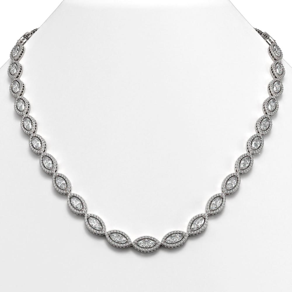 28.12 ctw Marquise Diamond Necklace 18K White Gold - REF-3914W5H - SKU:42740