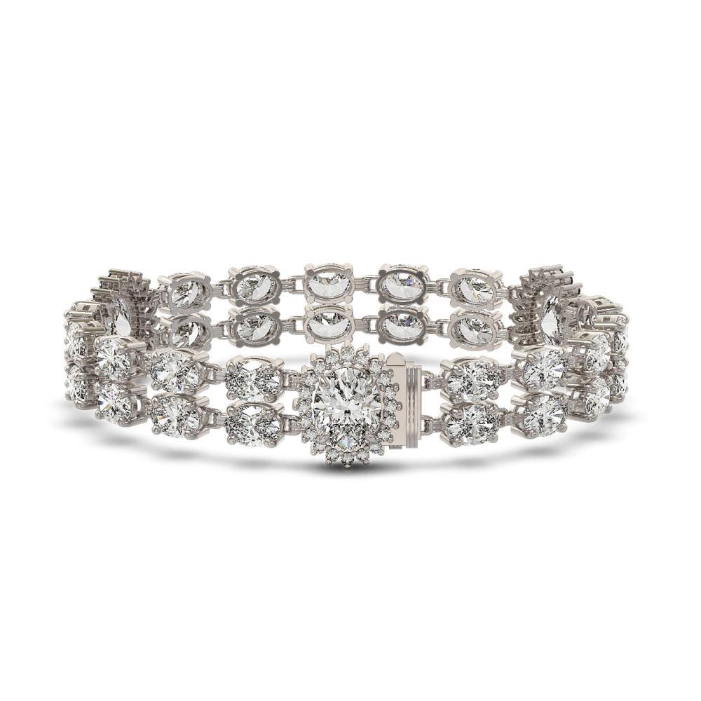 14.86 ctw Rare Oval Diamond Bracelet 18K White Gold - REF-2152H8M - SKU:46197