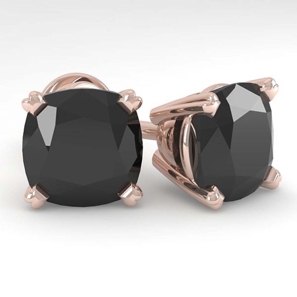 6 ctw Cushion Black Diamond Stud Earrings 14K Rose Gold - REF-115H8M - SKU:38391