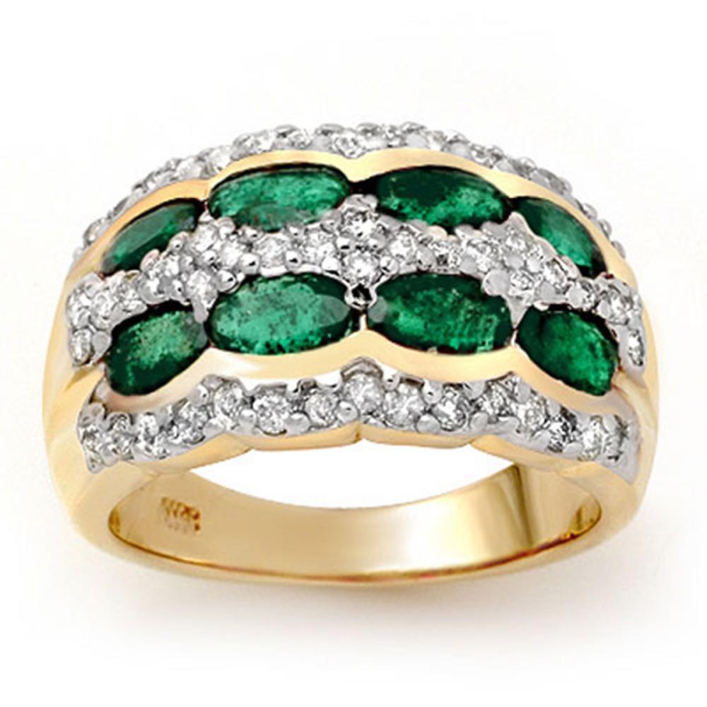 2.25 ctw Emerald & Diamond Ring 14K Yellow Gold - REF-105X5R - SKU:13983