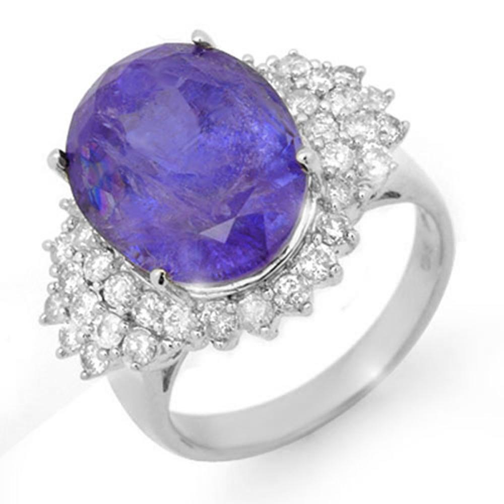 11.25 ctw Tanzanite & Diamond Ring 18K White Gold - REF-406N4A - SKU:14517